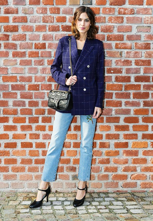 Alexa Chung style: Never dismiss the trusty blazer and jeans formula.