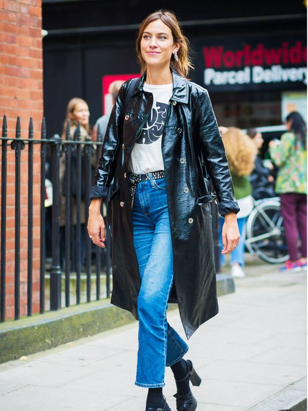 Alexa Chung style:  jazz up simple outfits with a statement coat.