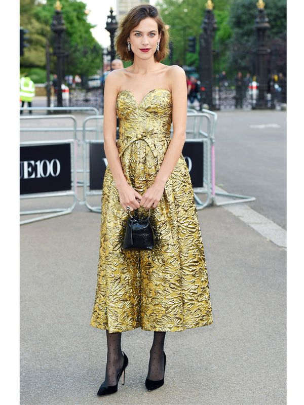 Alexa Chung style:  you can wear tights to an evening do