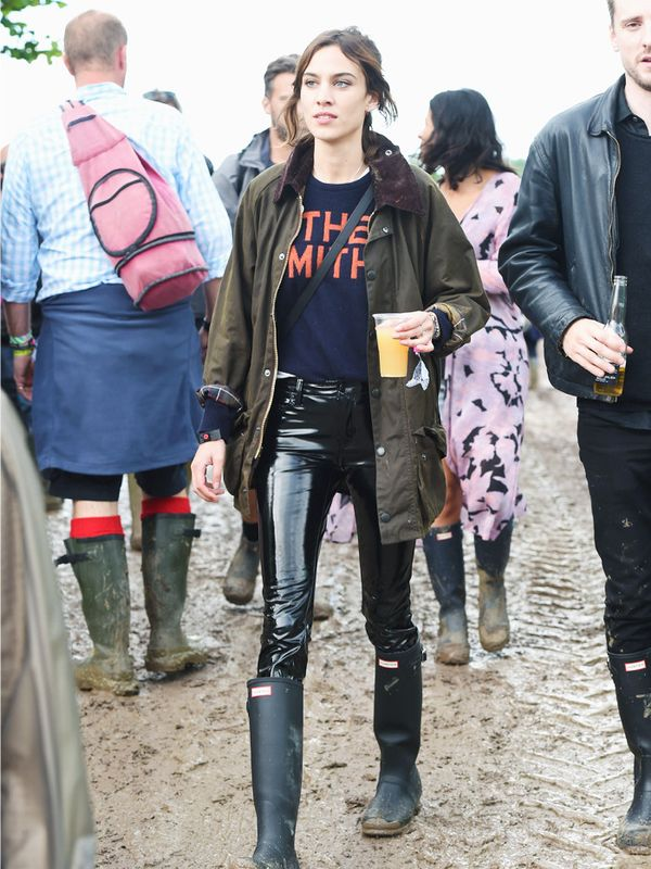 Alexa Chung style: consider vinyl trousers a rock 'n' roll alternative to jeans