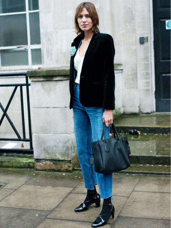 Alexa Chung style: invest in a velvet tailored jacket