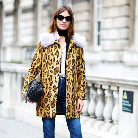 Alexa Chung style: in a leopard print coat and flares