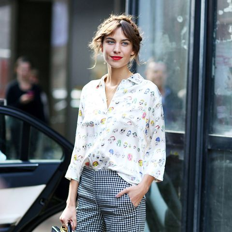 Alexa Chung style: printed Shrimps shirt and checked trousers