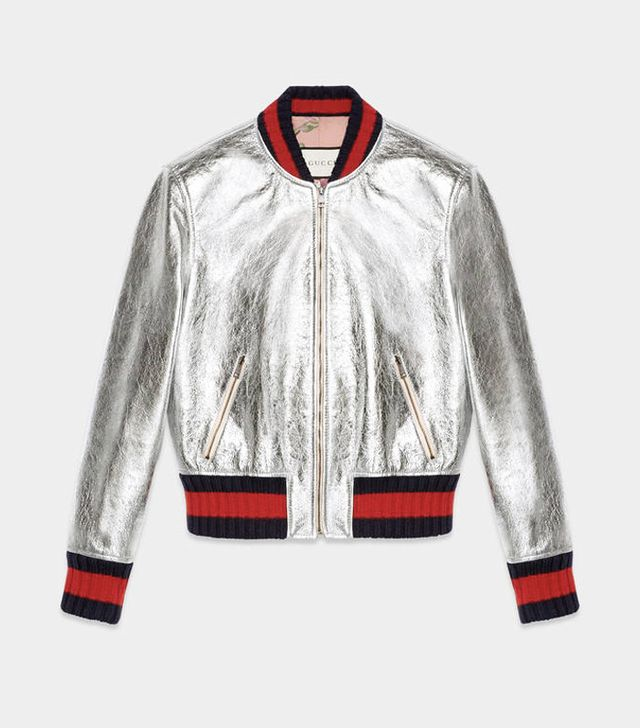How to dress in your 30s: Gucci Crackle leather bomber jacket
