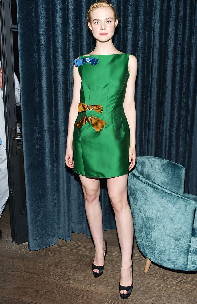 best colours for skin tone: Elle Fanning, who has fair skin in an emerald green dress