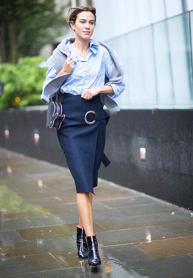 WHAT: 21 September 2015 at London Fashion Week S/S 16 WEAR: Shrimps Hunk Merino Wool Jumper(£310); Margaret Howell Double Ruffle Shirt(£345);JacquemusWool-Felt...