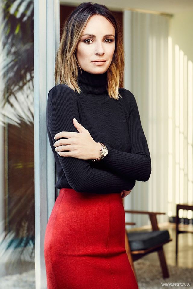 """A turtleneck-and–pencil skirt combois as classic as workwear comes. How do you make this different?  """"This look is very versatile. This would work for a breakfast meeting, a..."""