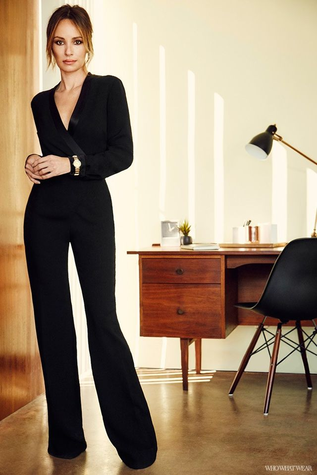 """This black tuxedo jumpsuit is a stunning alternative to an evening dress. Where do you see yourself wearing it? """"I would wear this to an evening event where I want to come across as strong..."""