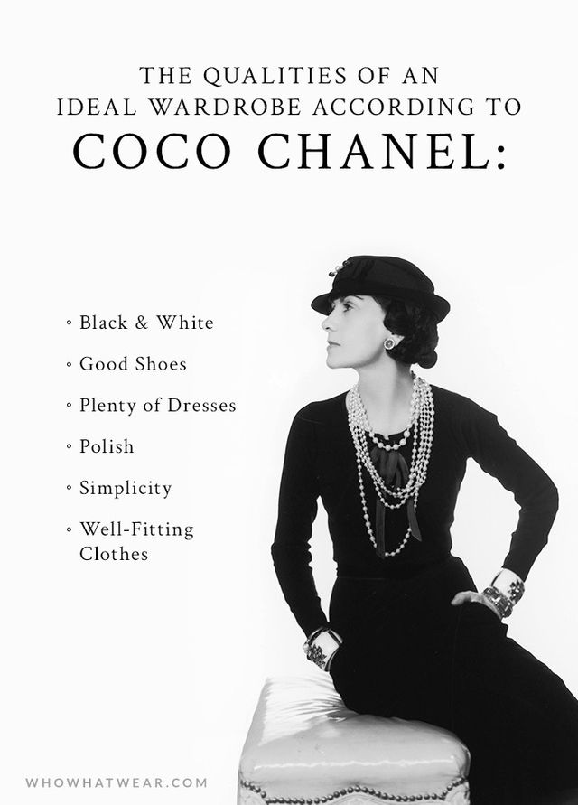 a woman 39 s ideal wardrobe according to coco chanel whowhatwear. Black Bedroom Furniture Sets. Home Design Ideas