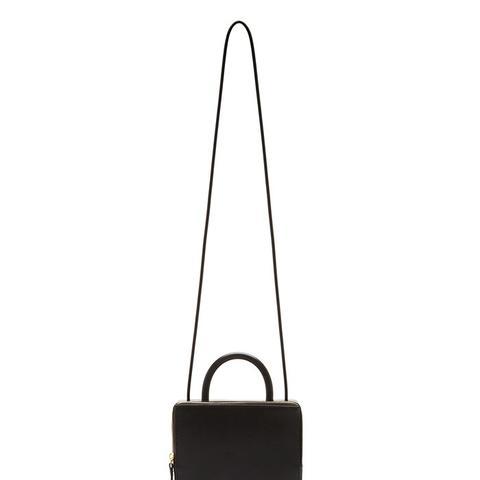 Building Block Black Leather Box Bag