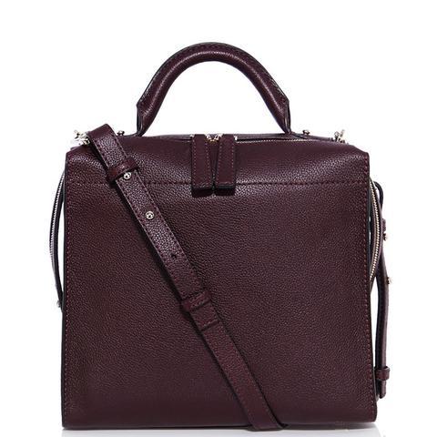 Burgundy Leather Box Bag