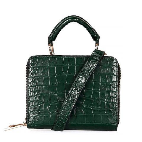 Croc-Effect Boxy Bag