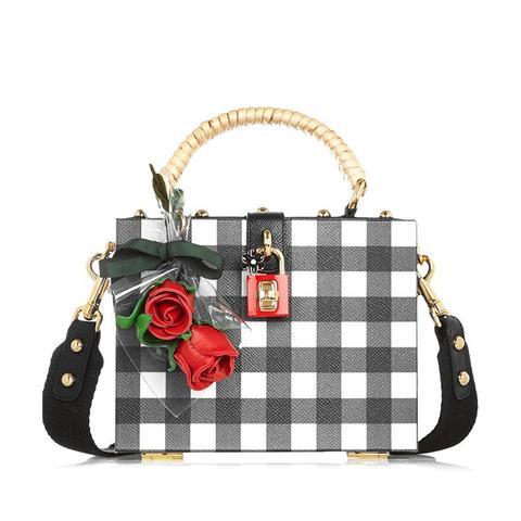 Dolce Box Gingham Textured-Leather Shoulder Bag