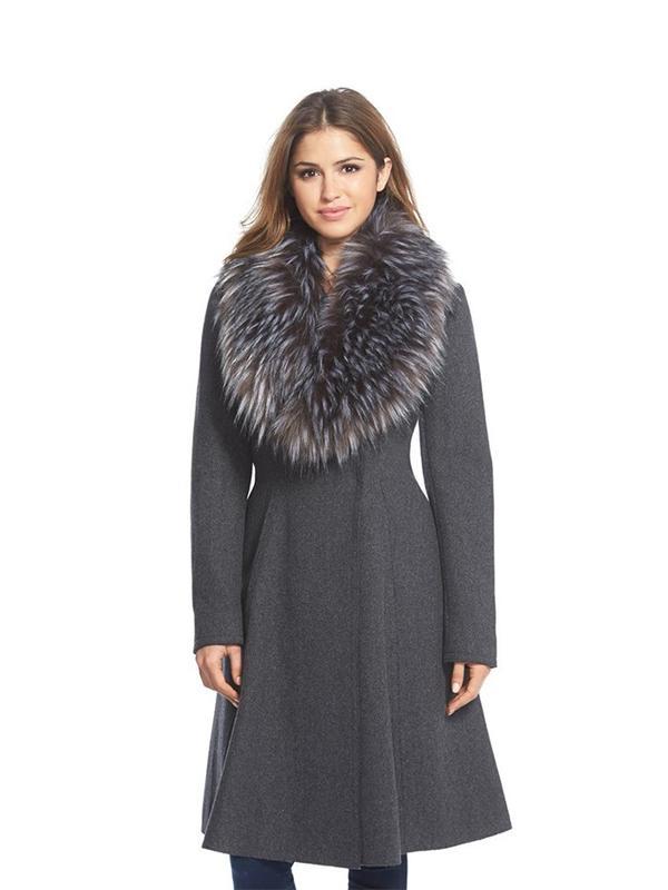 Vera Wang Serena Faux Fur Collar Wool Blend Fit & Flare Coat