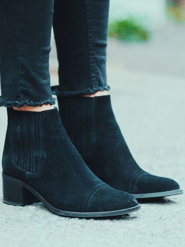 tuesdayshoesday 7 suede black boots 100 whowhatwear