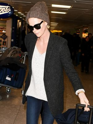 Charlize Theron Sets the Bar High for Cool, Comfortable Airport Style
