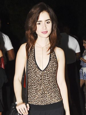 The Chic Way Lily Collins Styles a Leopard Leotard