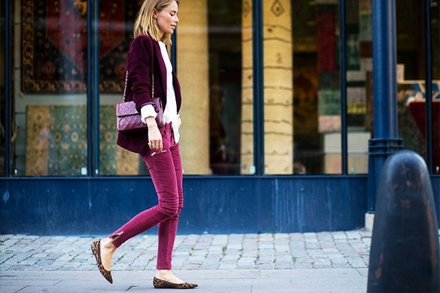 Shop the key piece: Topshop Moto Burgundy Cord Jamie Jeans (£42)