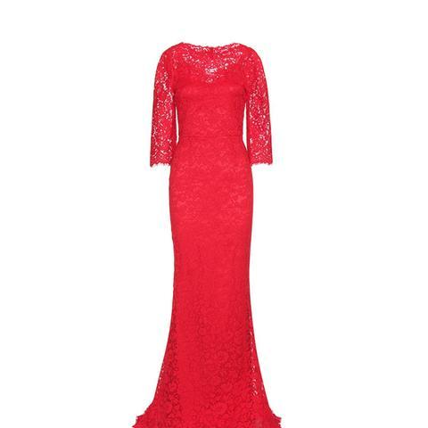 Cotton-Blend Lace Gown