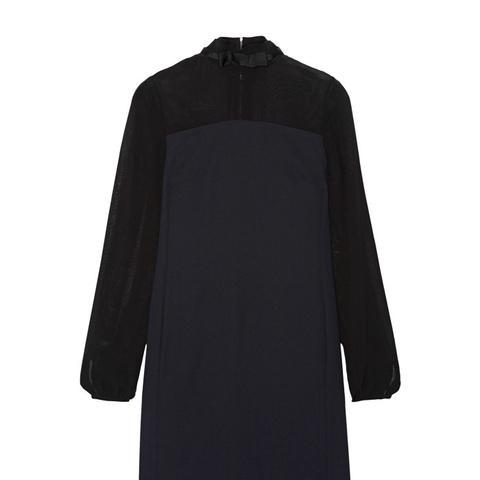 Chiffon-Paneled Crepe Mini Dress