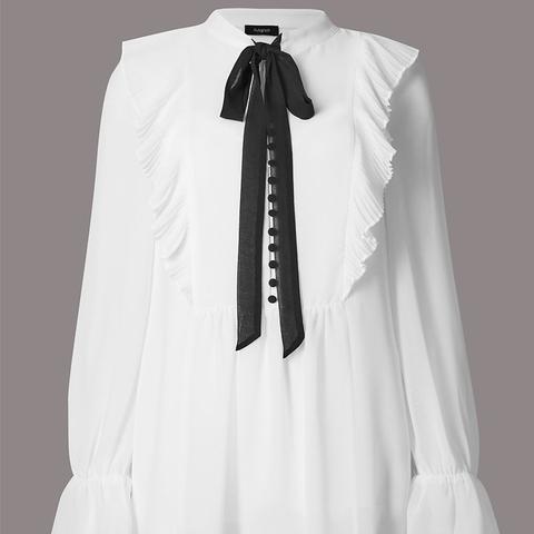 Ruffle V-Neck Long Sleeve Blouse