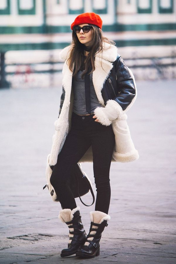 Style Notes: You don't have to stop at a shearling coat when it comes to cosying up in sheepskin. Take a tip from Doina and go the full matchy nine yards with a bag and boots.