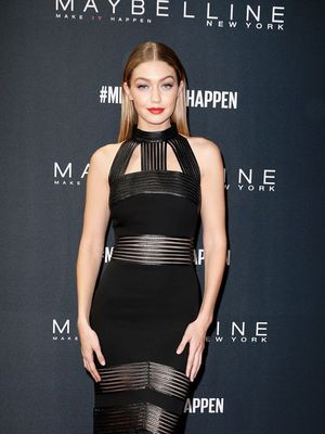 You Have to See Gigi Hadid in This Stunning Pre-Fall Feather Dress