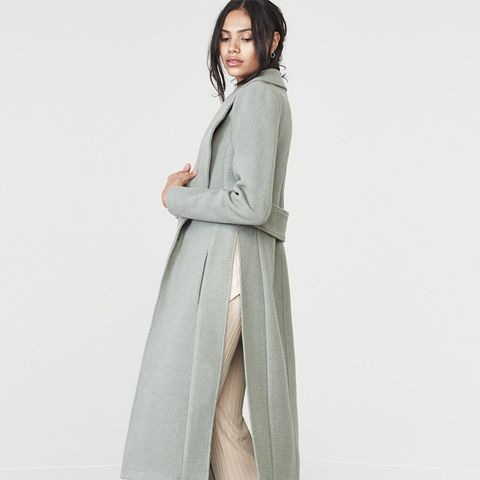 Sage Green Wool Boyfriend Style Tailored Coat