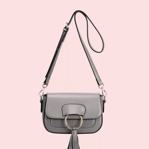 Gray Ring Tassel Leather Cross Body Bag