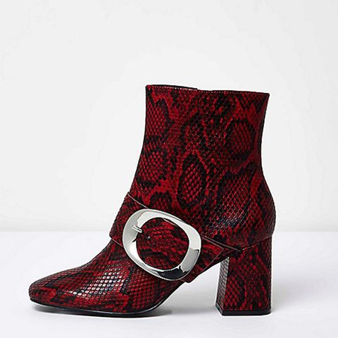 Red Snakeskin Buckle Boots