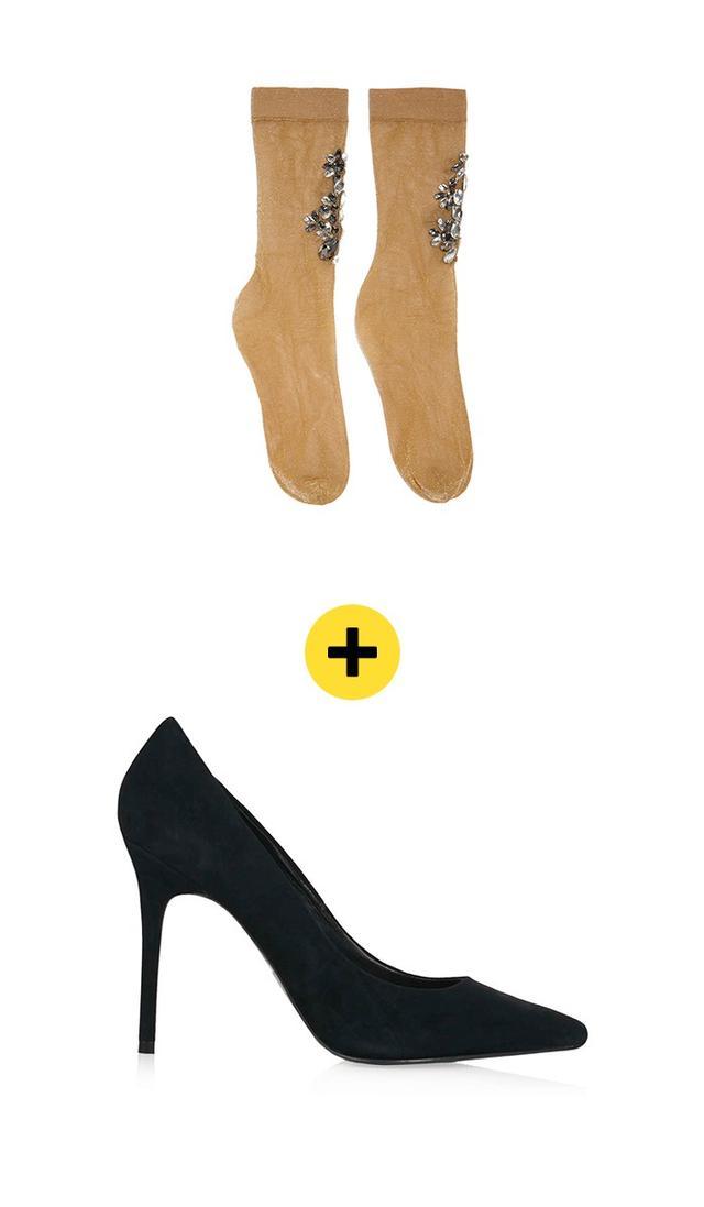 Dolce & GabbanaCrystal-Embellished Metallic Knit Socks($695) +TopshopGemini2 Court Shoes($55)