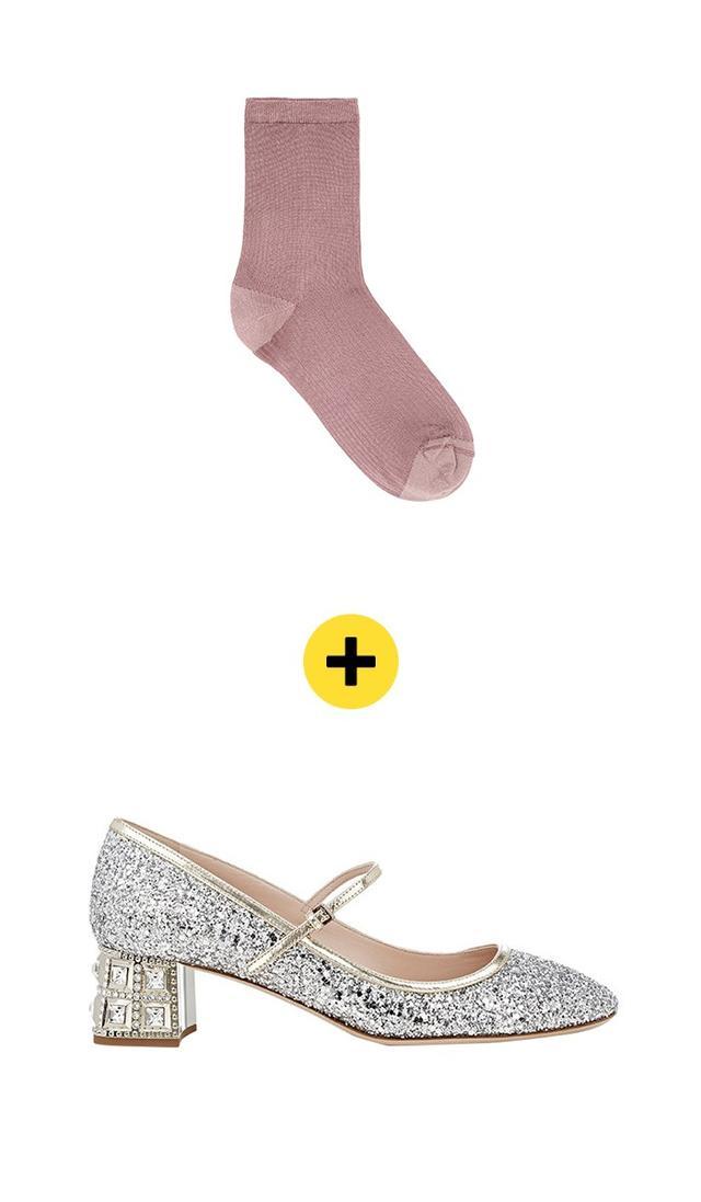 COSGlitter Toe and Heel Sock($9) +Miu MiuGlitter Mary Jane Pumps($895)