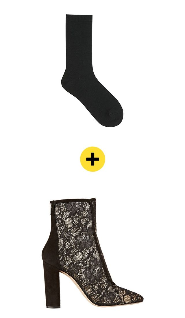 Uniqlo WomenHeattech Socks($13) +Gianvito RossiSuede Trimmed Chantilly Lace Ankle Boots($598)