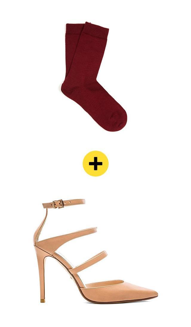 FalkeSoft Wool and Cotton-Blend Socks($15) +RayeCarrie Heel($198)