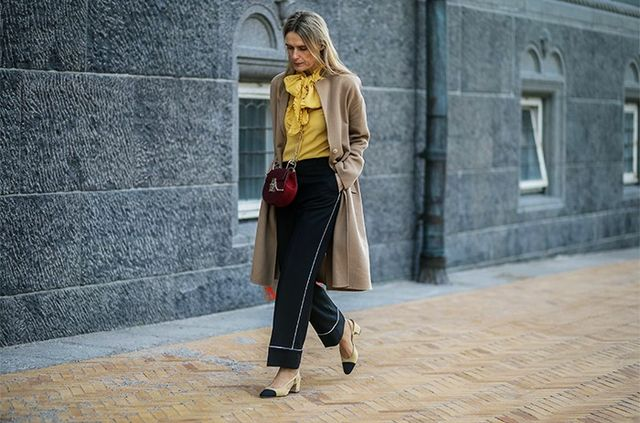 Silky Separates + Camel Overcoat