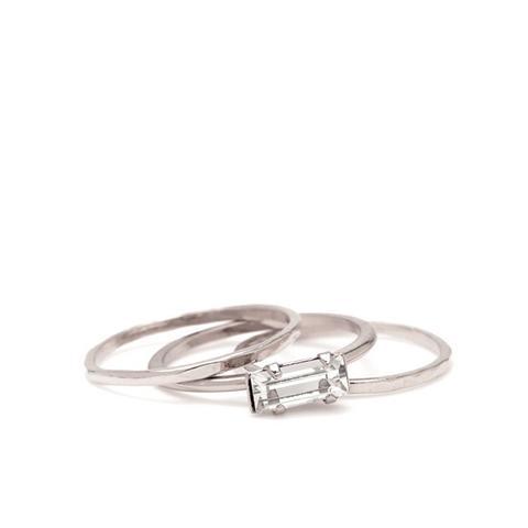 Tiny Baguette Midi Ring Set