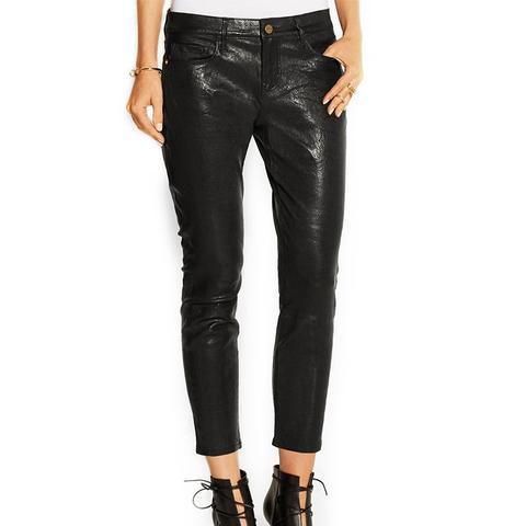 La Garcon Textured-Leather Slim Boyfriend Pants