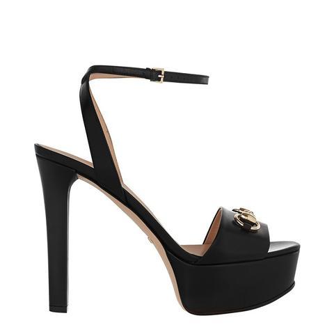 Horsebit-Detailed Leather Platform Sandals