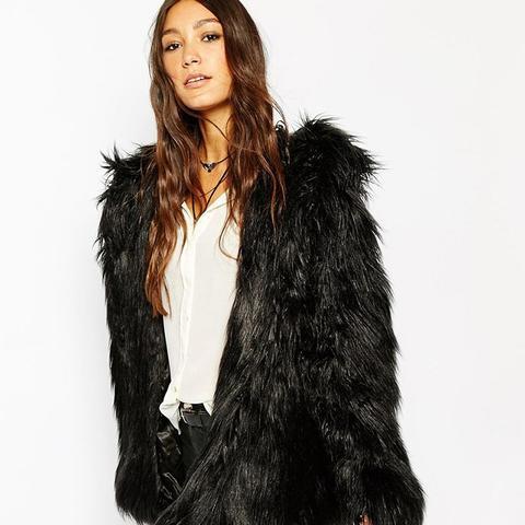 Hooded Fluffy Faux Fur Coat