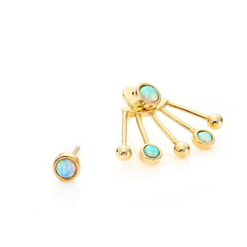 Modern Modular Opal Ear Jacket & Stud Earring Set