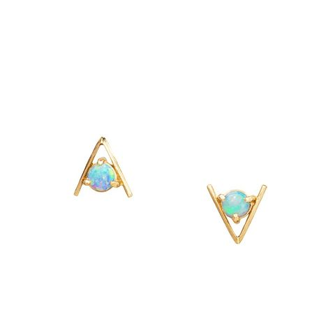 Large Opal Triangle Earrings