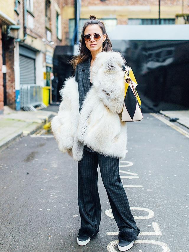 On Zina Charkoplia: Made by Measure coat; Gestuzjacket and trousers; Furla Artesia Multicolour Leather Tote(£435); KG Kurt Geiger Lulu Satin Flatform Skate Shoes(£120).