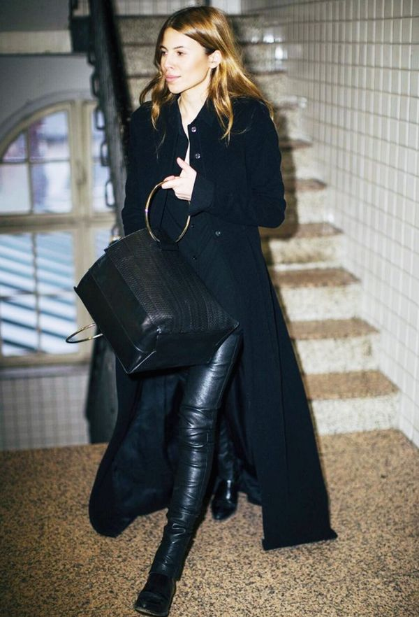 Punctuate a black ensemble with double leather.