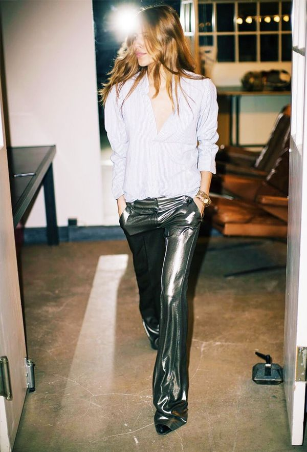 Get party ready in lamé trousers with a plain shirt