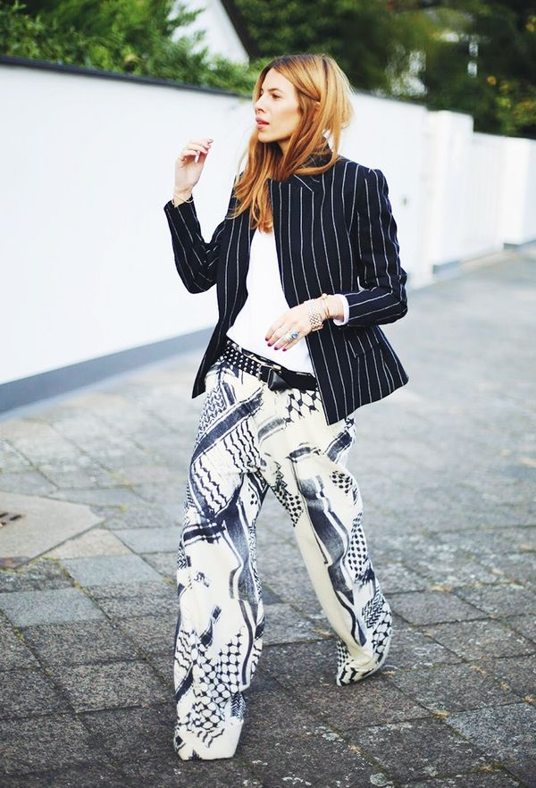 Pair pinstripes with more adventurous patterns.