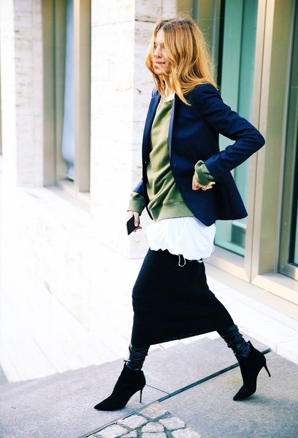 Add extra warmth with leather leggings under a tube skirt