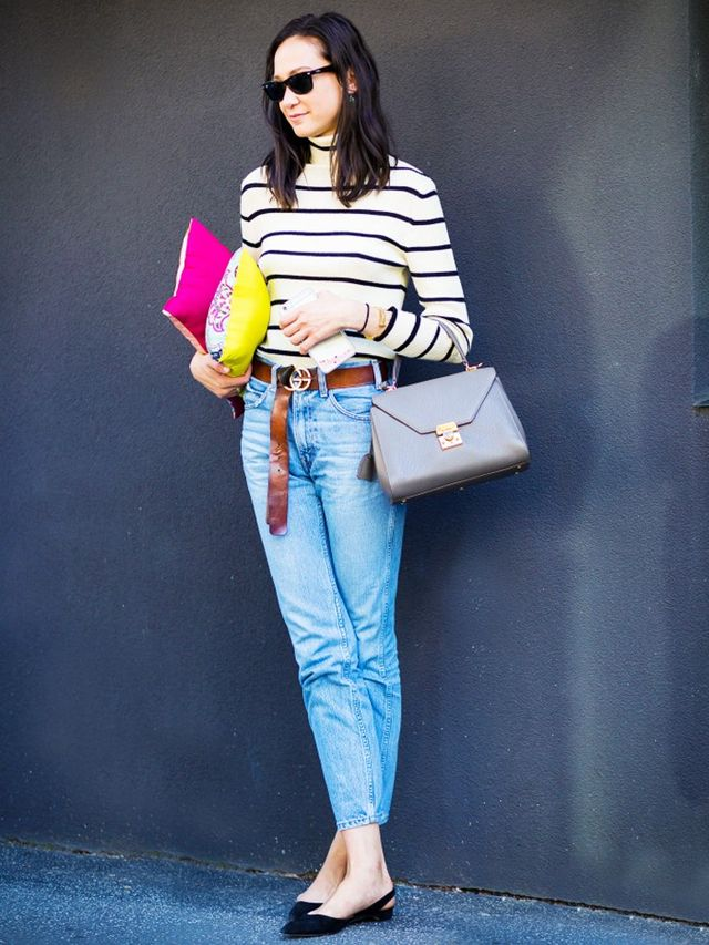 Striped top + cropped high-waisted jeans + logo belt: