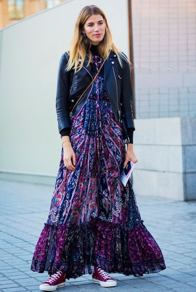 Leather jacket + maxi dress + high-top sneakers: