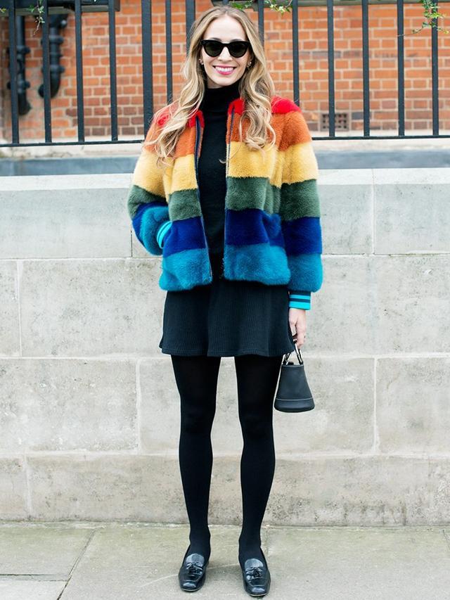 Colorful fur coat + miniskirt: