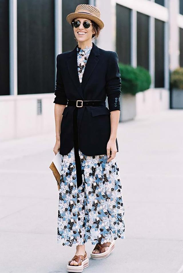 Belted blazer + lace dress: